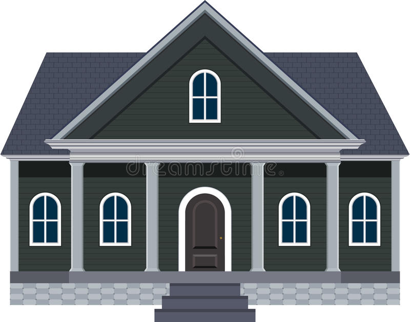 New England Style Dream Home With Large Front Porch Illustration royalty free stock photo