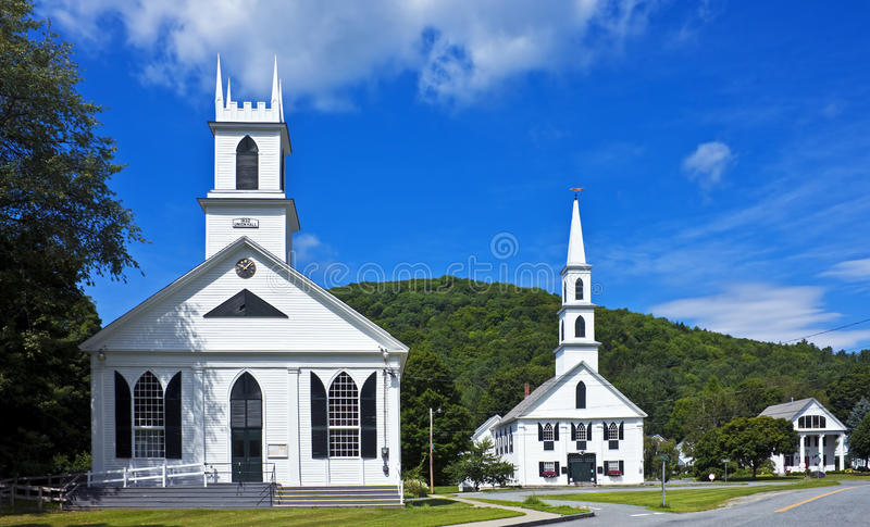 New England town center. Town center with Union Hall, First Congregational Church, Newfane, Vermont royalty free stock photography