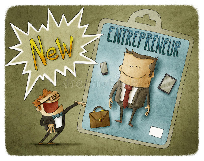 New entrepreneur. Funny presentation of a new entrepreneur vector illustration