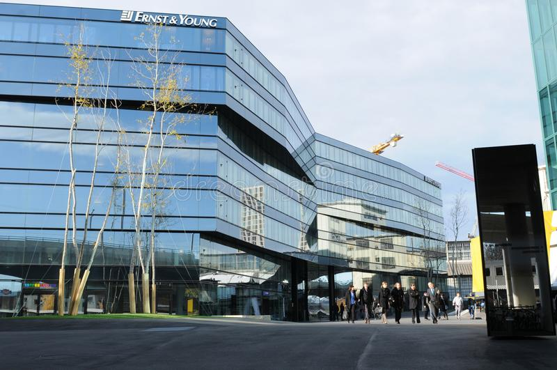 The new Ernst & Young headquarter in Zürich-West in the shadow royalty free stock photos