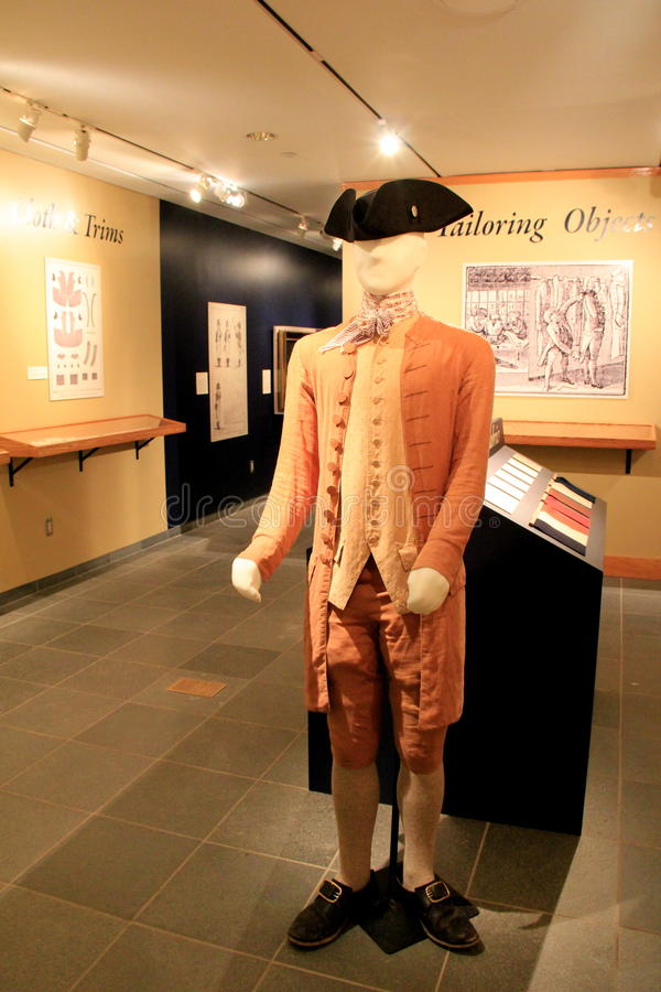 New exhibit called 'Founding Fashion', Fort Ticonderoga,New York,2014. This year's new exhibit, called ' Founding Fashion ' shows original uniforms and other stock photo