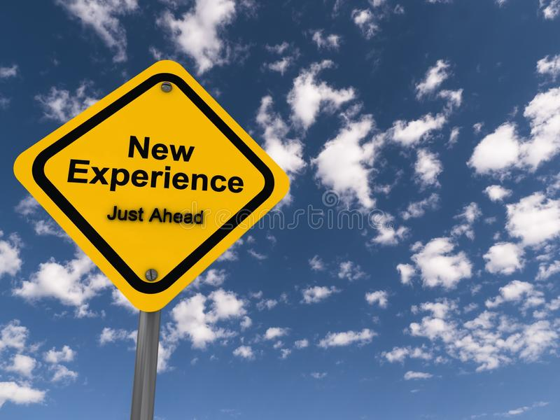 New experience road sign. A yellow new experience road sign with the sky in the background royalty free stock image