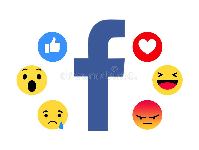 New Facebook like button 6 Empathetic Emoji. Kiev, Ukraine - November 22, 2017: New Facebook like button 6 Empathetic Emoji. Printed on paper. Facebook is an stock illustration