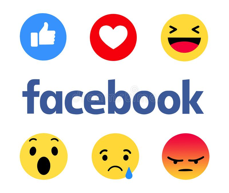 New Facebook like button 6 Empathetic Emoji. Kiev, Ukraine - October 12, 2017: New Facebook like button 6 Empathetic Emoji. Printed on paper. Facebook is an stock illustration