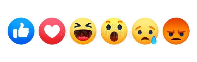New Facebook like button 6 Empathetic Emoji Reactions. Kiev, Ukraine - May 02, 2019: New Facebook like button 6 Empathetic Emoji Reactions printed on white paper stock illustration