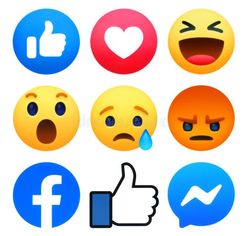 New Facebook like button 6 Empathetic Emoji Reactions with Messenger and Like symbol. Kiev, Ukraine - May 10, 2019: New Facebook like button 6 Empathetic Emoji stock illustration