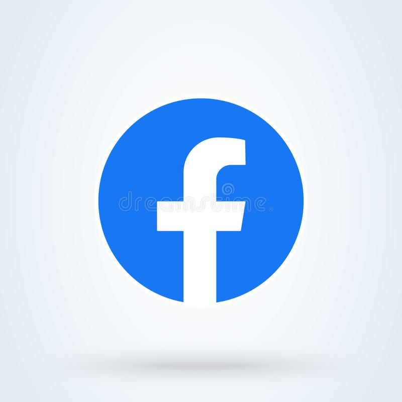 2019 new Facebook logo sign and placed on white background. stock illustration