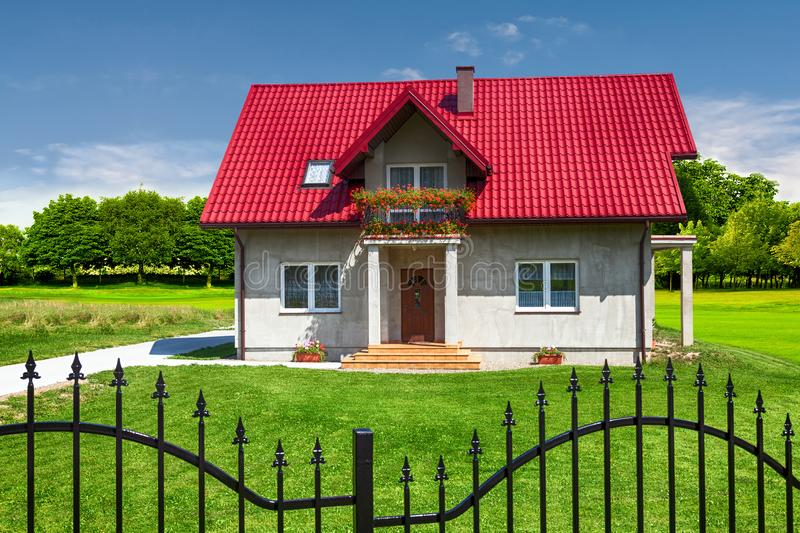 New Family House. In sunny day stock photo