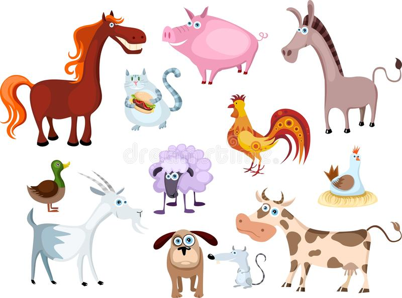 New farm animal set stock illustration