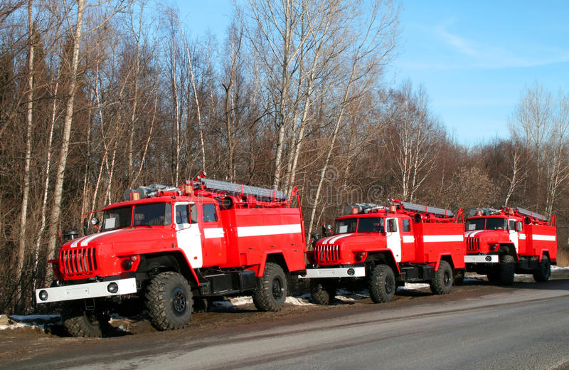 New fire trucks royalty free stock photography