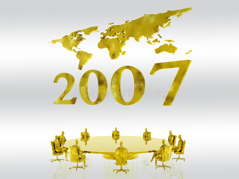 New fiscal year 2007. New years 2007 with a world map in the background, a new fiscal year. Clipping path, financial, teamwork, economy concept stock illustration