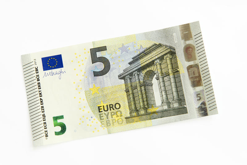New Five Euro banknote. Issued in 2013 royalty free stock photo