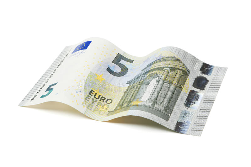 New five Euro bill with clipping path stock photos