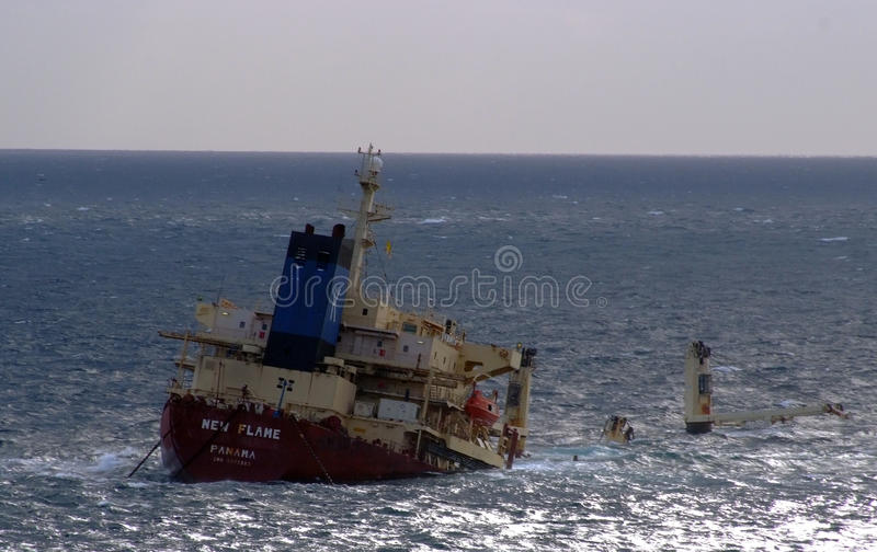 New flame cargo ship royalty free stock images