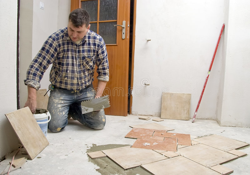 New floor tiles in hall. stock images