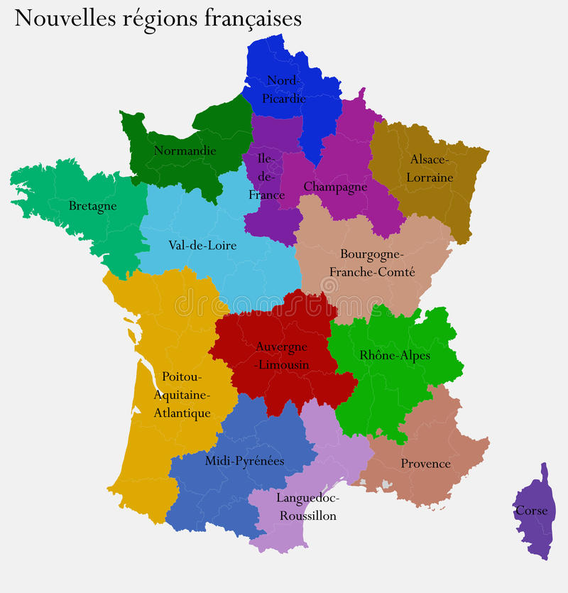 New French regions. Nouvelles regions de France. Separated departments royalty free illustration