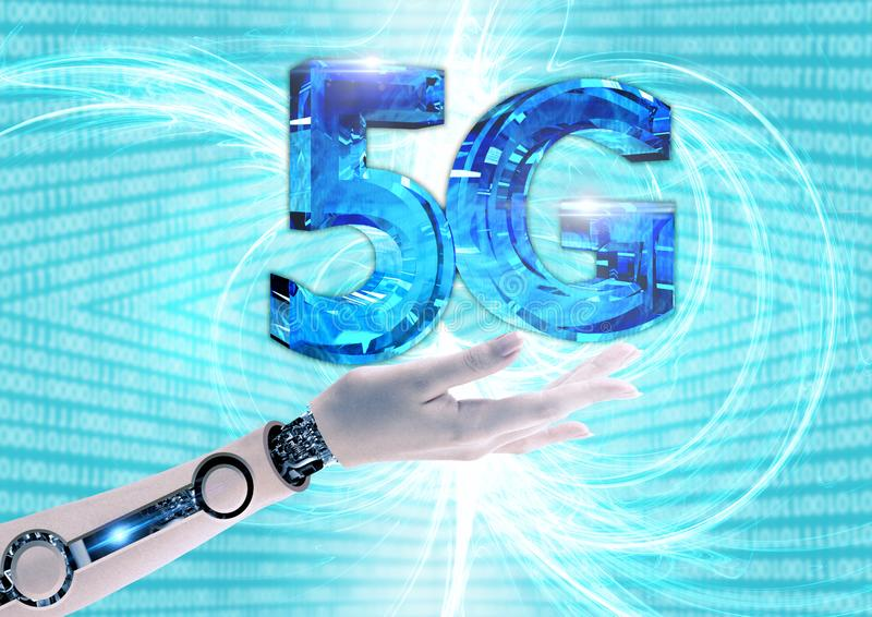 New 5G wireless connection at high speed. Innovation and revolution for high rates of data traffic stock illustration