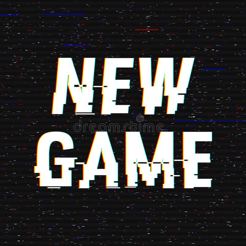 New Game glitch text. Anaglyph 3D effect. Technological retro background. Vector illustration. Creative web template stock illustration