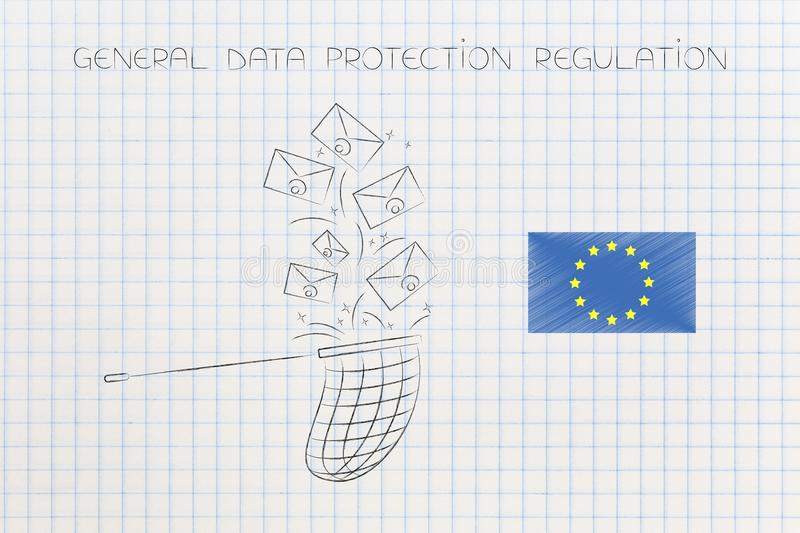 Butterfly net collecting emails next to europe flag and GDPR tex stock illustration