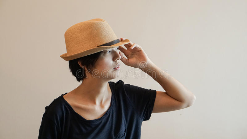 New generation hipster life style short hair Aisan woman with co. New generation hipster life style short hair Aisan woman royalty free stock photography