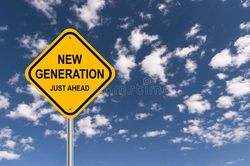 New generation, just ahead illustration. New generation, just ahead illustrated in black text graphics on yellow roadway caution sign against blue skies stock photo