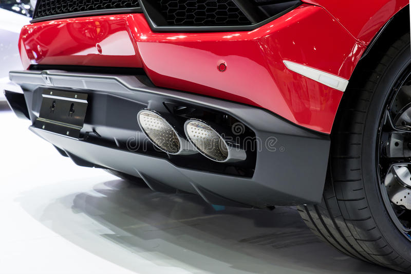 New generation of sportive mufflers. Rectangular Car Exhaust Tail.  stock photo