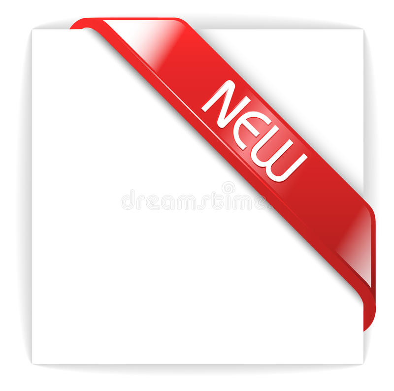 New Glassy Red Corner Ribbon Royalty Free Stock Photo