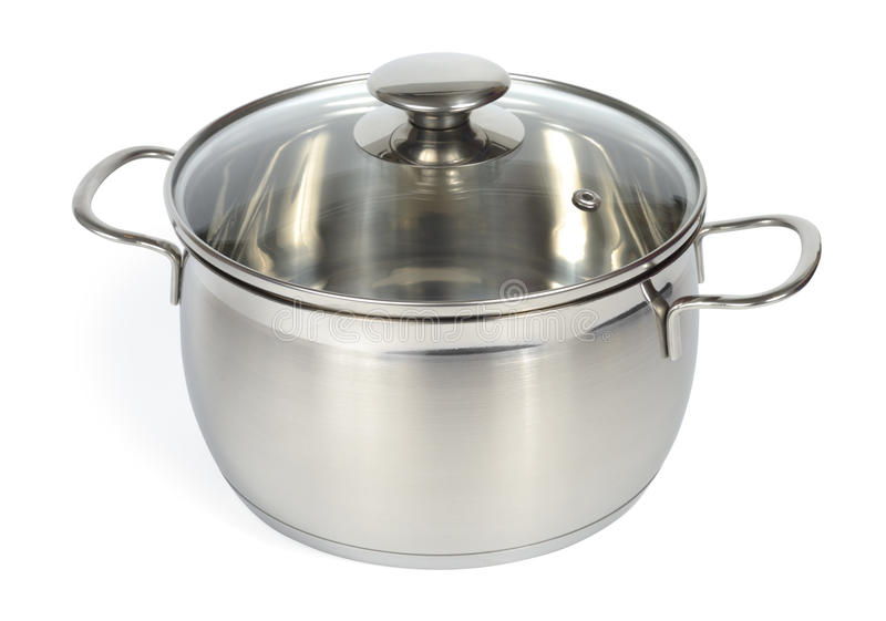 New Glossy Pan. Isolated with clipping path over white background stock photography