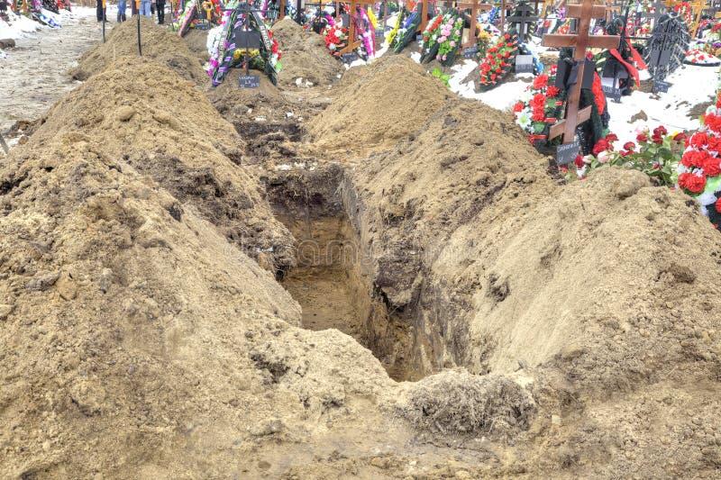 New grave stock photo