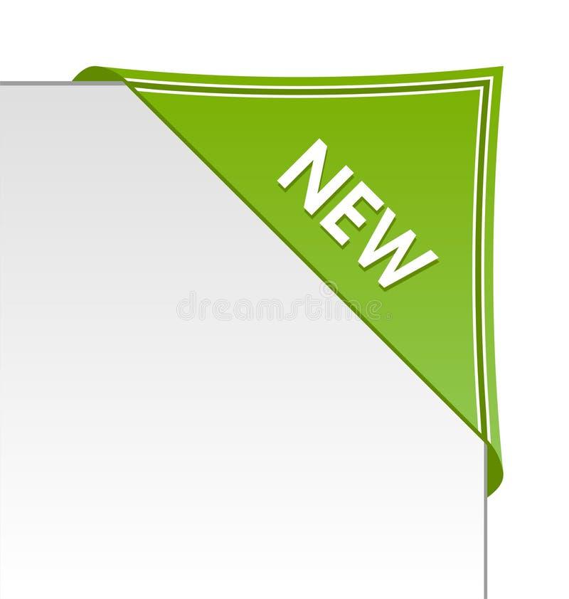 New green corner business ribbon. On white background vector illustration