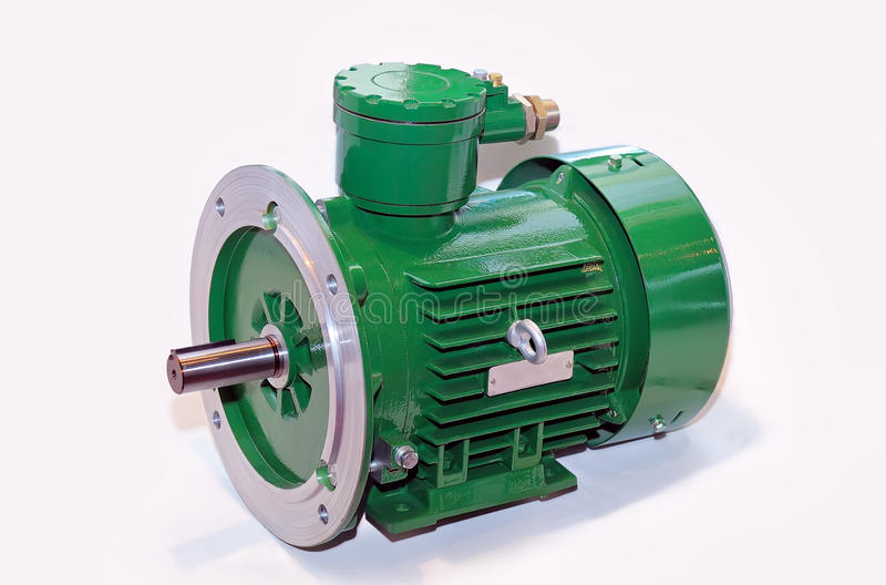 New green electric motor isolated on white background stock image
