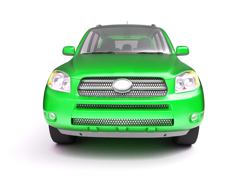 New green glossy SUV front view royalty free stock photos