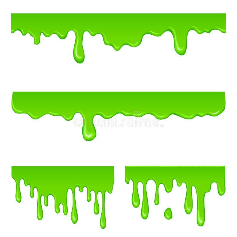 New green slime set. On a white vector illustration