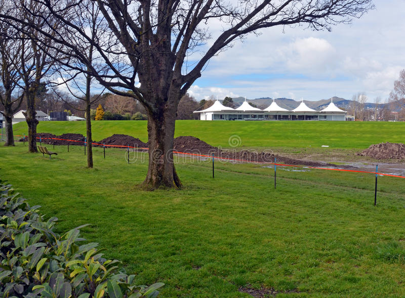 New Hagley Oval Cricket Pavilion & Grass Bank Opened in Christc royalty free stock photo