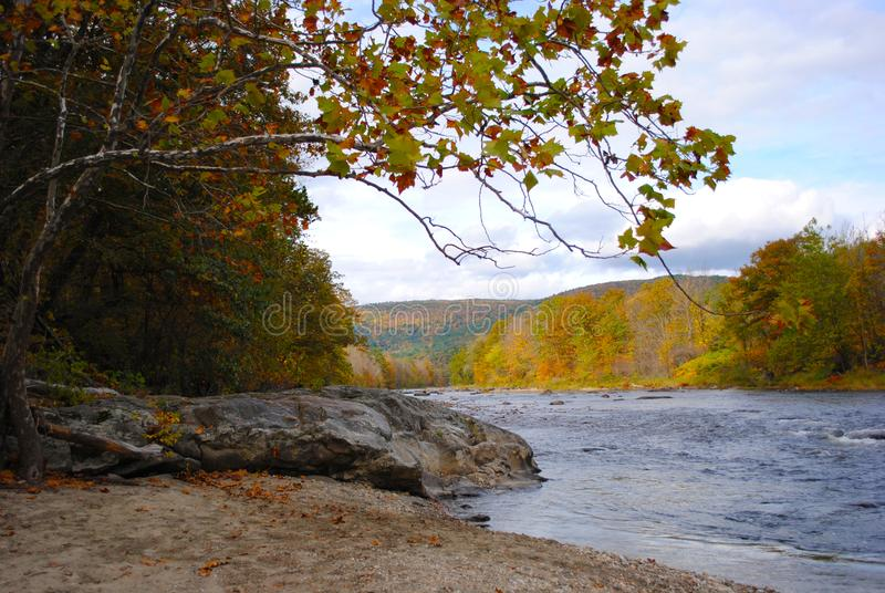 New Hampshire Autumn River stockfotos