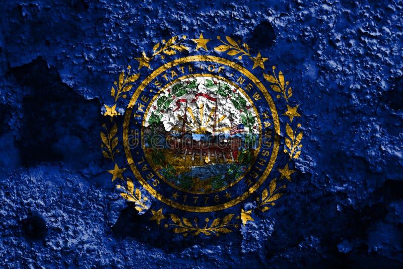 New Hampshire-de vlag van de staat grunge, de Verenigde Staten van Amerika royalty-vrije stock afbeelding