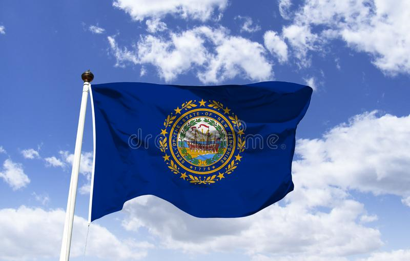 New Hampshire flag mockup in the wind stock illustration