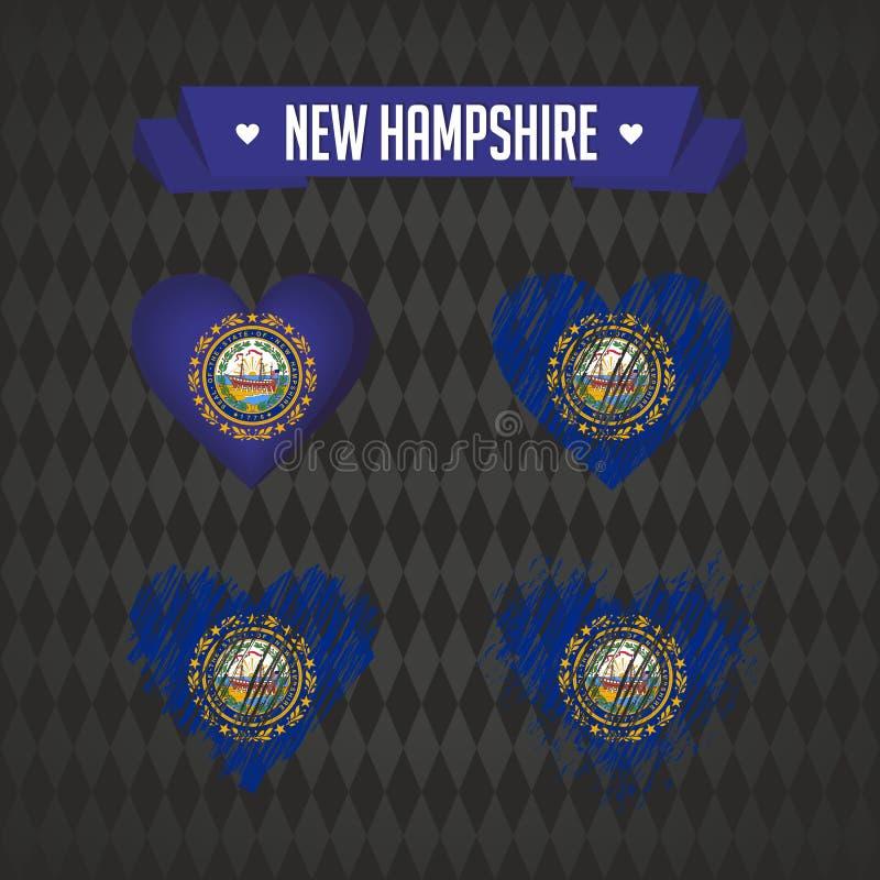New Hampshire-hart met binnen vlag Grunge vector grafische symbolen royalty-vrije illustratie