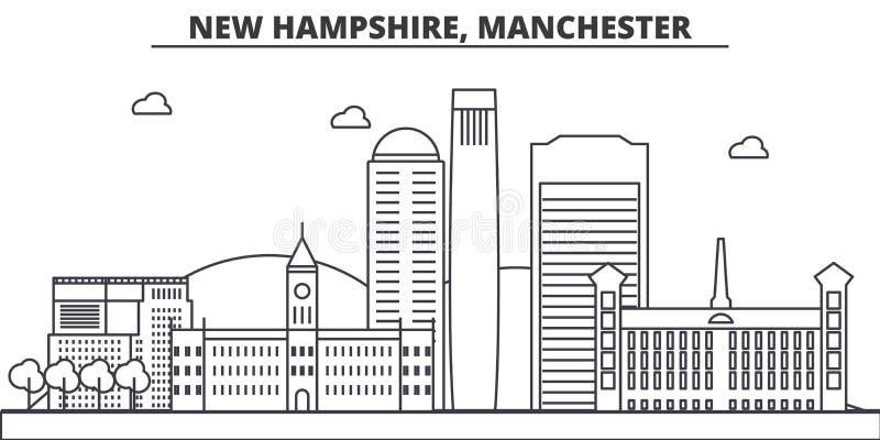 New Hampshire, linea illustrazione di architettura di Manchester dell'orizzonte Paesaggio urbano lineare con i punti di riferimen royalty illustrazione gratis