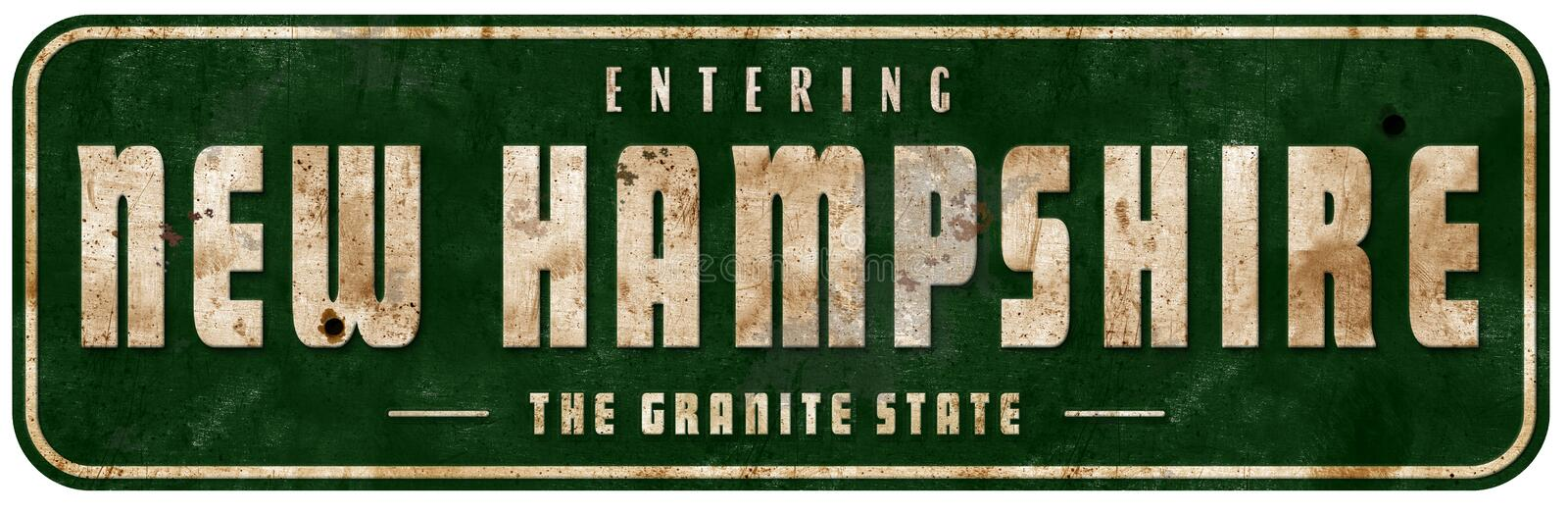 New Hampshire Road Sign welcome to entering. New Hampshire Road Sign grunge vintage metal welcome to entering freeway retro the freedom and unity state roadway royalty free stock image