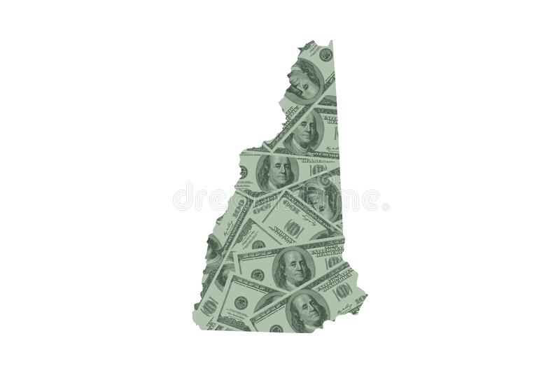 New Hampshire State Map Outline and United States Money Concept, Hundred Dollar Bills. New Hampshire State Map Outline and United States Money Concept, with stock photo