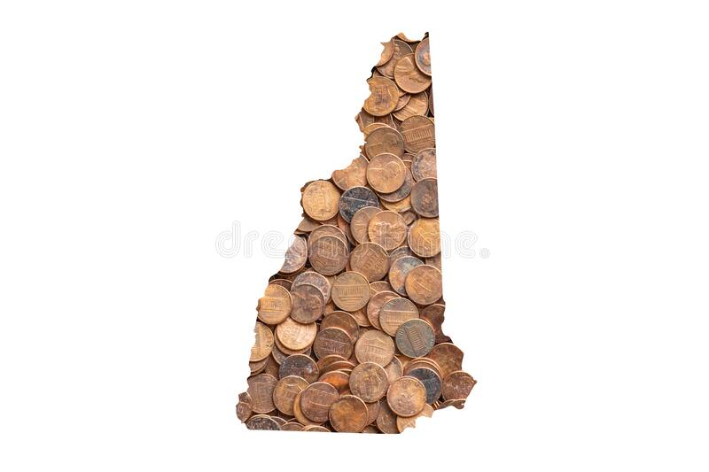 New Hampshire State Map Outline and United States Money Concept, Piles of One Cent Coins, Pennies. New Hampshire State Map Outline and United States Money stock photography