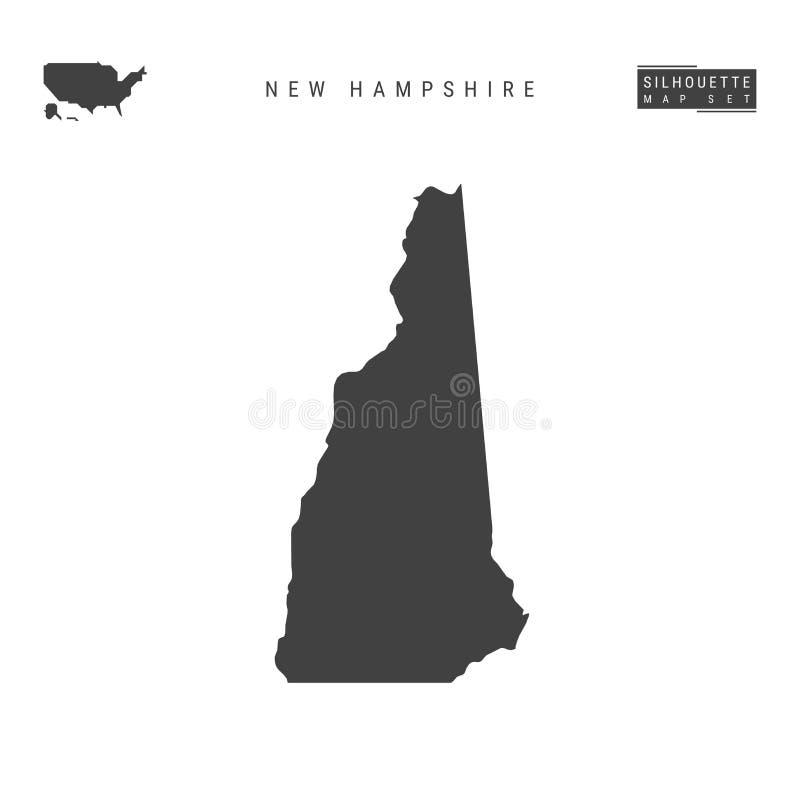 New Hampshire USA påstår vektoröversikten som isoleras på vit bakgrund Hög-specificerad svart konturöversikt av New Hampshire vektor illustrationer