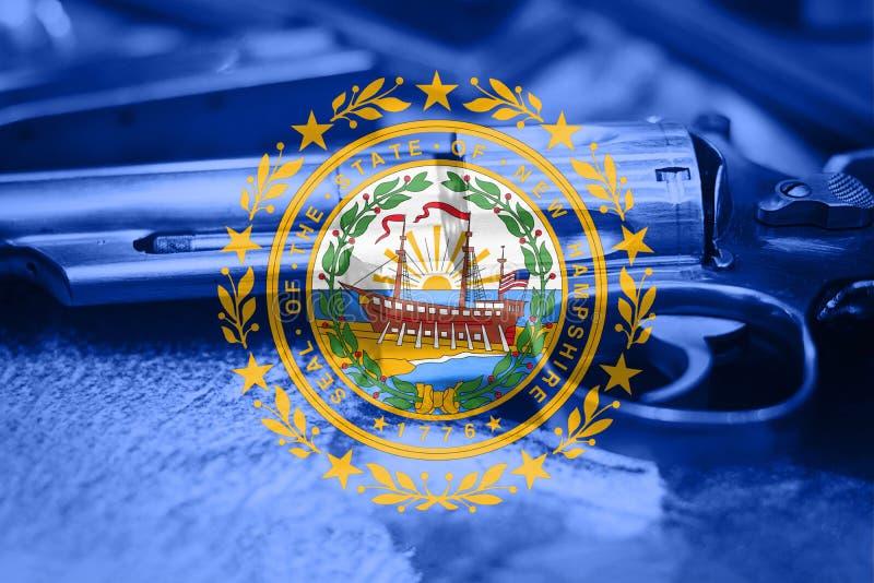New Hampshire-vlagu S het Kanoncontrole de V.S. van de staat Verenigde Staten stock afbeelding