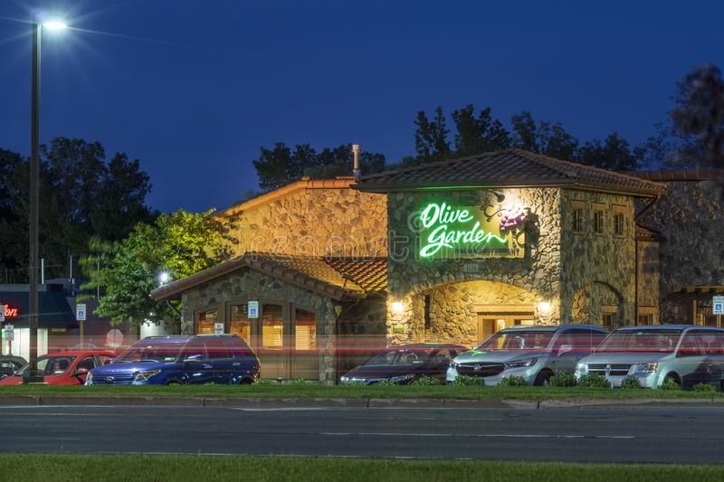 New Hartford, NY - SEPTEMBER 09, 2019: Exterior of Olive Garden Italian Kitchen Restaurant Location. Olive Garden is a chain royalty free stock photos