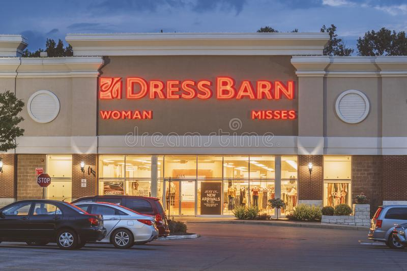 NEW HARTFORD, NEW YORK - AUG 16, 2019: Dress Barn, a subsidiary of Ascena Retail Group, is a retailer of women's clothing. Facade, american, company royalty free stock photo