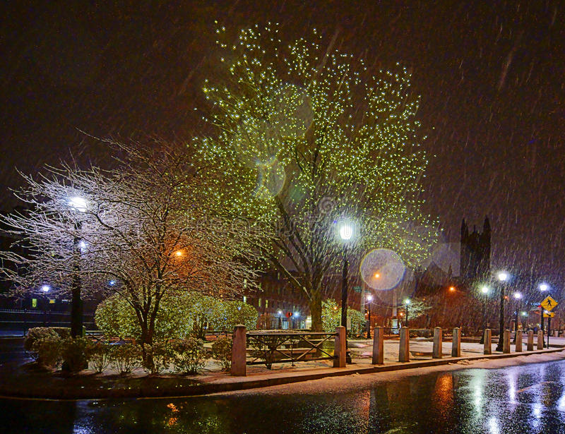 New Haven bij Nacht stock afbeeldingen