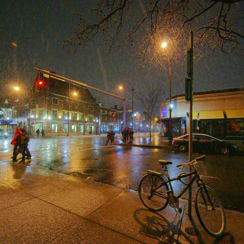 New Haven, noite nevado fotos de stock