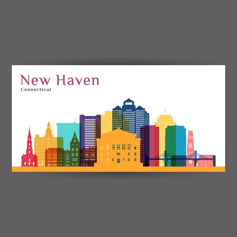 New-Haven Stadt-Architekturschattenbild Bunte Skyline stock abbildung