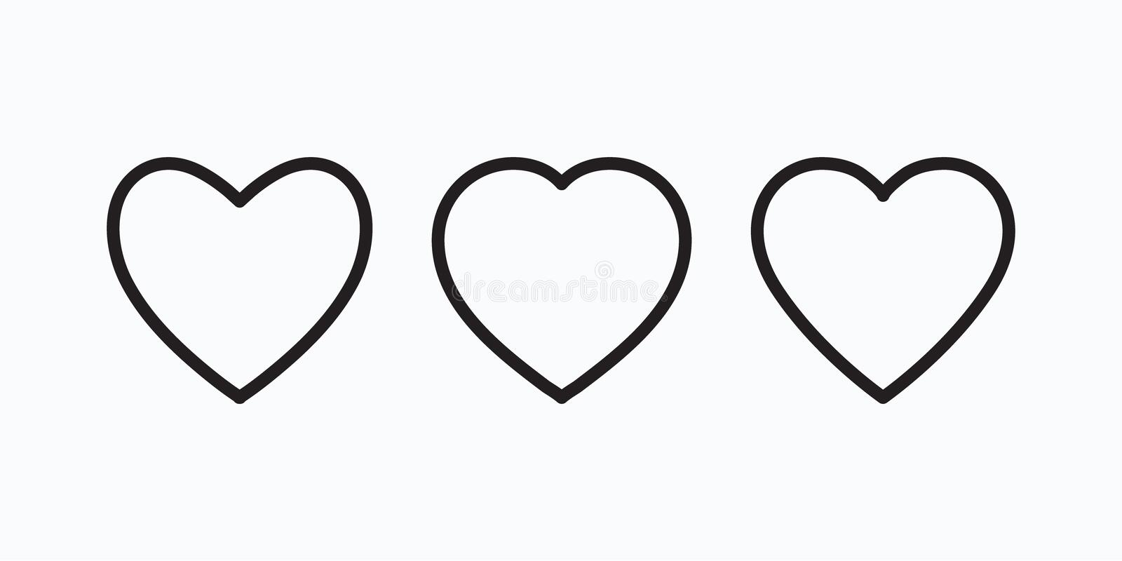New heart icons, concept of love, linear icons thin grey line vector illustration